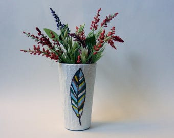 White feather Vase  / painted feather / abstract feather / one feather / modern vase / white home decor / feather art