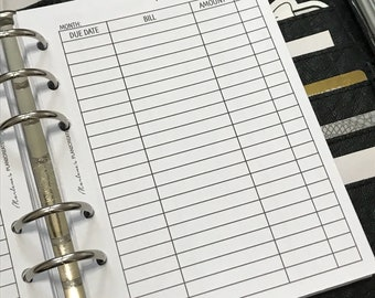 A6 Monthly Bill Tracker Printed Planner Inserts | A6 Size Planner | Finance Planner
