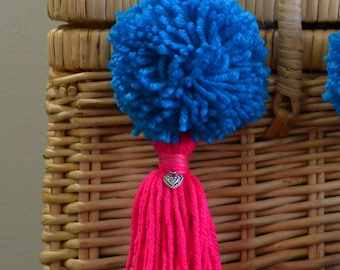 Blue and Pink Pom Pom & Tassel Clip-on with Heart Charm -  Keychain, Beach Bag or Backpack Flair Clip