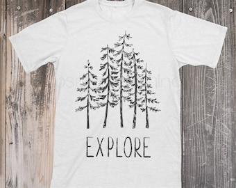 Explore Camping Shirt, Camping Shirt for Men, Wilderness Shirt, Monochrome Mens Top, Woodland Top, Explore Tee, Camping Gifts, Tree Hugger