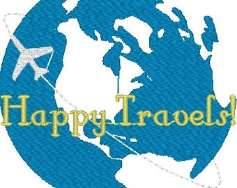 Happy Travels World Globe Machine Embroidery Design