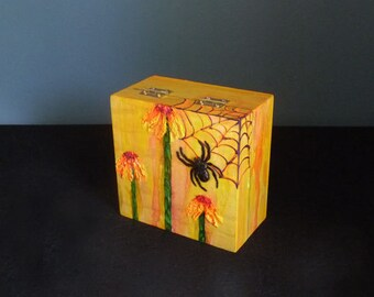 Black spider box with satin pillow, Gothic Keepsake box, Unique jewelry box, Halloween decor, Mini card and envelope included