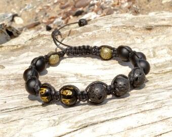 Mens LAVA Stone Matte Onyx Tibetan Mantra Om Shamballa bracelet men 8 mm Black Gold Beaded Gemstone bracelet Fathers Day gift for men dad