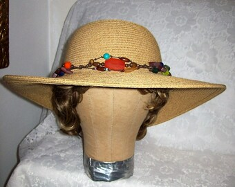 Vintage Ladies Woven Straw Wide Brim Sun Hat by Cappelli Large Only 20 USD