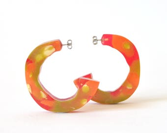 Chunky Resin Statement Hoops-Large, Handmade, One of a kind-Assorted Colours
