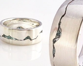 Glacier Mountain Ring, 8mm band, Gemstone Inlay, Handcafted w recyled Silver, Gold, Palladium, Platinum, Mountain Ring, Wedding Ring