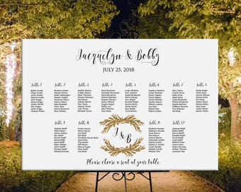 Wedding seating chart printable personalized, custom wedding sign seating assignment, DIGITAL seating plan wedding table assignment