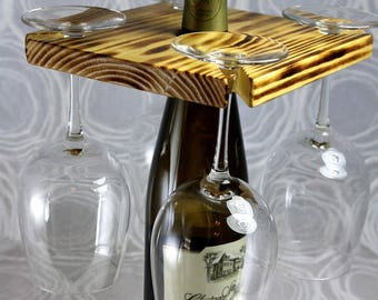 Sale! 5.00 off! Wine Glass Holder Rack, Wine Rack, Burnt Pine or one of 8 color choices! Great Gift Idea!