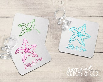 Starfish Wedding Coasters | Personalized Barware | Cocktail Coasters | Custom Foil Coasters | Drink Coasters | Letterpress Foil Party Favors