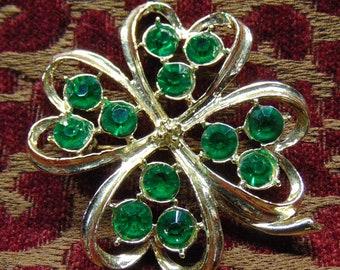 Vintage Four Leaf Clover Brooch with Green Rhinestones