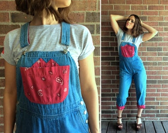 vtg 90s Red BANDANNA PRINT Bib OVERALLS denim Small grunge boho jeans capri pants hipster suspender jumpsuit dungarees western cowgirl