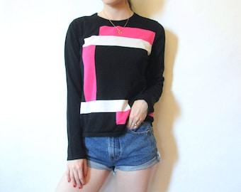 80s Geometric Sweater S