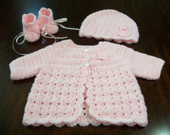 Baby Sweater Set, Infant Coming Home Outfit, Crocheted Baby Set, Newborn Set, Baby Shower Gift, Sweater and Bonnet and Booties, Knitted Set