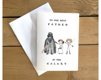 Starwars card from us // star wars card, darth vader, princess leia, funny card, father's day card, for dad, birthday card, luke skywalker