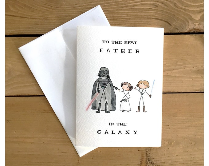 Featured listing image: Starwars card from us // star wars card, darth vader, princess leia, funny card, father's day card, for dad, birthday card, luke skywalker