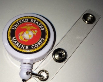 US Marines Themed  ID Badge Reel
