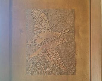 Rustic Vintage Framed Embossed Copper Art Flying Ducks