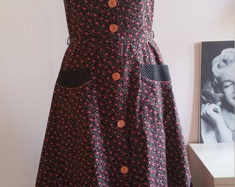 1970's Polka Dot and Floral Day Dress (Size: Approx. UK 10)