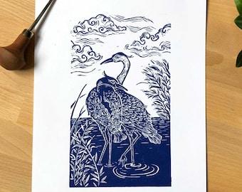 Cranes / / original linocut