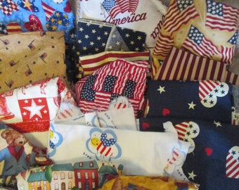 Variety of American Flag Themed Scrap Fabric - Quilt Crafts - Almost 2 lbs