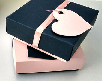 10 gift boxes with lids, wedding favor boxes, jewelry packaging, pink boxes, navy  boxes, bridesmaid gift box, box with ribbon, small boxes