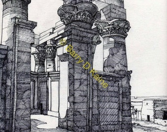 Egypt Temple Philae 001 ink drawing print
