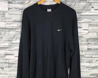Vintage 1990s NIKE Swoosh Sweatshirt Women XLarge Sportswear Streetwear Nike Air Crewneck Sweater Nike Athletic Wear Black Jumper Size XL
