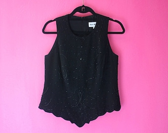 Vintage Black Beaded Unique Sleeveless Top