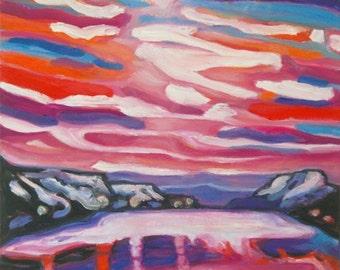 Akureyri -Iceland Winter Landscape Oil Painting, Van Gogh style, Snow Mountains, Sunset Sky, White Lake, Purple, Pink, Beautiful Scenery Art