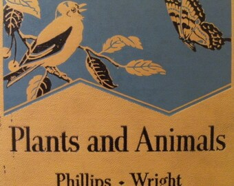 vintage 1936 Plants and Animals Nature - by seaside and wayside III, Phillips - Wright book. Illustrated natural history science botany HC