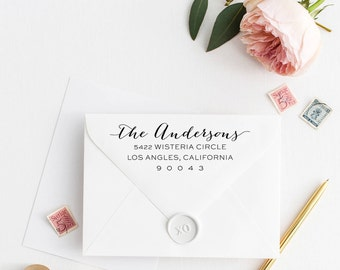 Custom Return Address Stamp, Self Ink Return Address Stamp, Personalized Address Stamp, Calligraphy Address Stamp Return Address Stamp No38