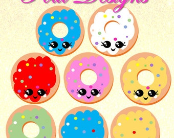 Kawaii Doughnut, 33 donuts ,Clipart ,Cute yummy chibi planner, sprinkled with sugar,food,pastry