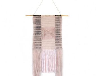 Pink and black wall hanging, woven wall hanging, nursery wall art, handwoven wall hanging