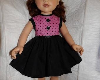 Mignon 60 inspiré robe sans manches noir & Rose à pois pour poupées de 18 pouces - ag306