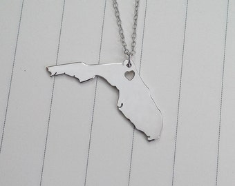 Florida State Charm Necklace,FL State Necklace,Silver State Necklace,State Shaped Necklace  With A Heart