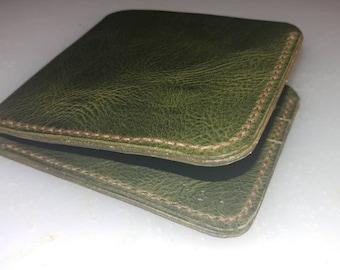 Olive Green Badalassi Carlo Leather Combo - 6 Pocket Bifold Wallet