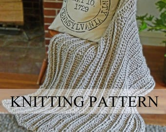 Chunky Blanket KNITTING PATTERN, Chunky Knit Throw Pattern, Knitted Blanket Pattern, Knit Throw Pattern, Beginner Knitting Pattern