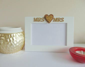 Mrs & Mrs White Frame with Gold Embellishments for Lesbian Wedding/Gift/Home