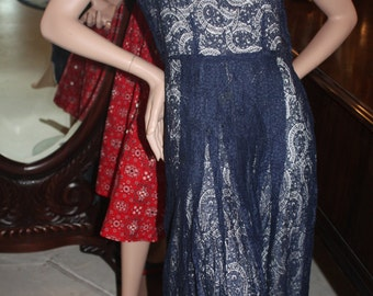 Vintage Early 1940's Navy Lace Over Dress  Item # 108-D