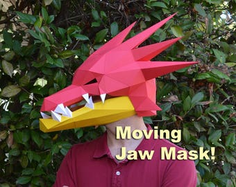 Dragon Mask with Moving Jaw - papercraft 3d | Paper Mask | Halloween Mask | Rave Costume | Dragon Costume | Game of Thrones | Fire Dragon