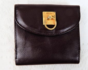 Mundi Fold Over Wallet Brown Genuine Leather Small 4x4 inches