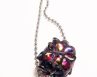 Necklace minimalist cubic pink mosaic beads