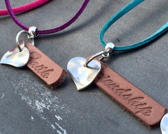 Leather & Stainless Steel Necklace.