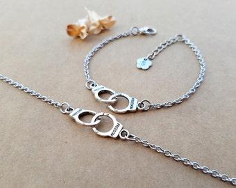 2 Partners in Crime Bracelets   Friendship bracelets   Best Friends Jewelry   Matching Bracelets   Personalized jewelry   Handcuffs bracelet