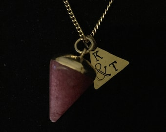 """Hand Stamped Initial and Symbol Necklace With Purple Stone """"Dipped"""" Pendant"""