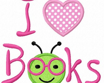 Instant Download Back To school/I Love Books Bookworm Applique Machine Embroidery Design NO:1215