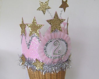 2nd Birthday Crown, 2nd birthday party hat, star birthday party hat,  customize