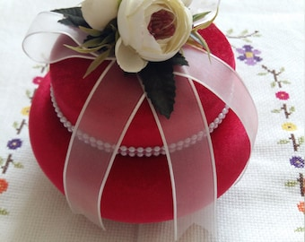 Red Velvet Box for Jewellery, Stylish Decorated Wedding Gift with Flowers