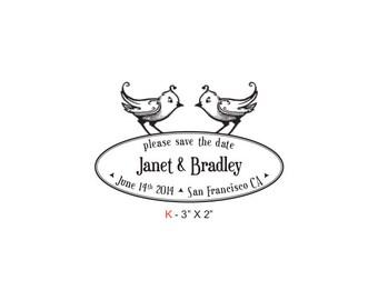 Birdies Save The Date Wedding Custom Rubber Stamp Birdie K