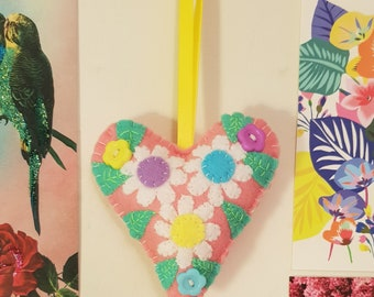 Spring Daisies Pink Floral Handmade Felt Hanging Heart
